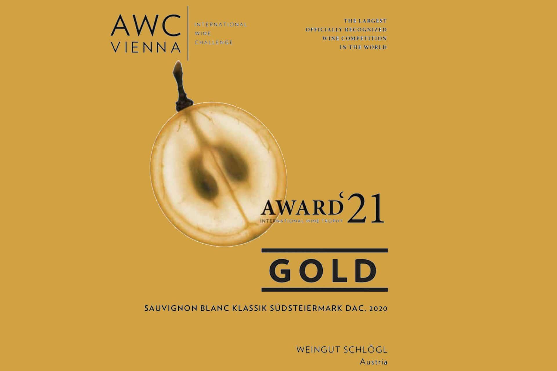 awc, Auszeichnung in Gold, SB Klassik DAC Südsteiermakr 2020, Weingut Schlögl, Titel1920, Gold Style